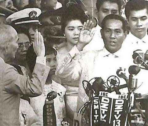 President Macapagal takes the presidential oath of office in a barong at Luneta Grandstand in Manila on December 30, 1961