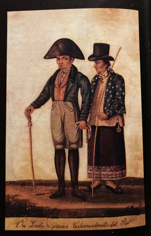 Un Indio Capitano. Gobernadorcillo del Pueblo. A native governadorcillo is on the left and a municipal captain is on the right wearing a barong under his jacket. Both are members of the principalia class. Painting by Damian Domingo circa 1830.
