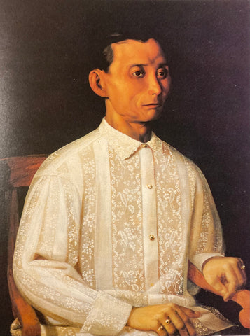 Portrait painting of Domingo Jimenez from the late 19th century. The artist is unknown. He wears a Barong Tagalog with all over embroidery
