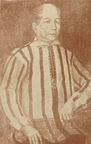 Photo of an early 19th century portrait painting of a man in his striped baro cerrada version of the Barong Tagalog. From Visitacion R. de la Torre's The Barong Tagalog: The Philippines' National Wear (1986).
