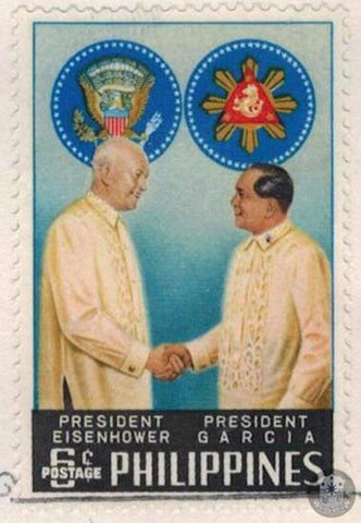Commemorative stamps were issued in December 1960 in honor of President Eisenhower's historical visit to the Philippines. The stamp image shows both presidents in barongs.