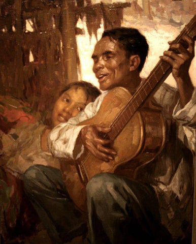 """""""El Ciego"""" (the blind man) painted by Fernando Cueto Amorsolo, 1929. A blind man in a barong plays guitar as a young woman leans towards him and looks"""