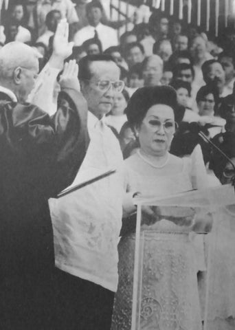 Ramos takes the presidential oath of office at his inauguration on June 30, 1992. He wears a Barong Tagalog