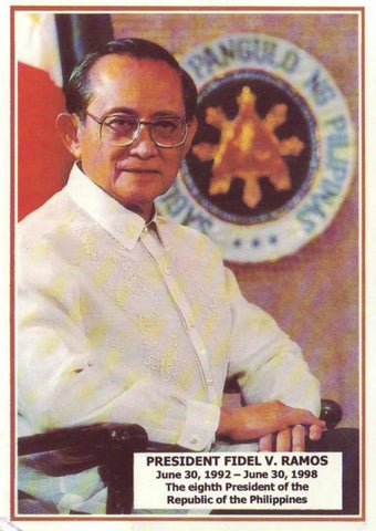 Ramos wears a Barong Tagalog with calado hand embroidery in one of his presidential portraits.
