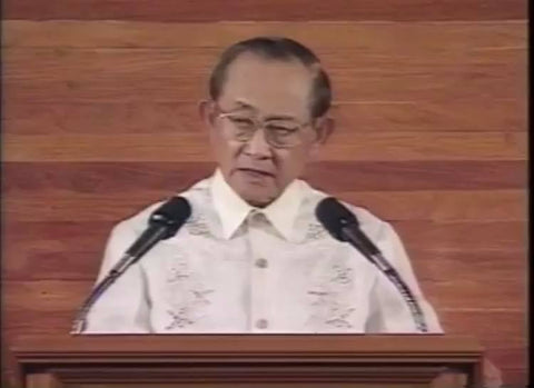 Ramos delivers the State of the Nation Address on July 23, 1997 in a Barong Tagalog
