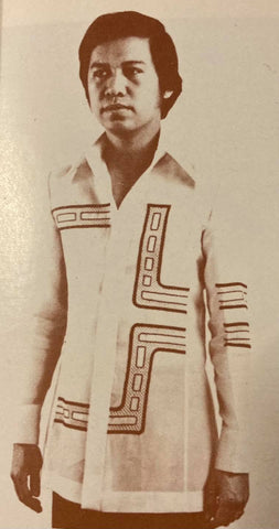 Frankie Evaristo wears a Barong Tagalog with a non-traditional geometric pattern.