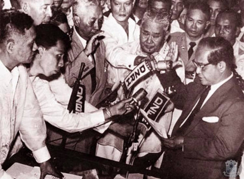 Garcia is sworn in as president at Malacañang Palace on March 18, 1957, a day after the tragic death of President Ramon Magsaysay.