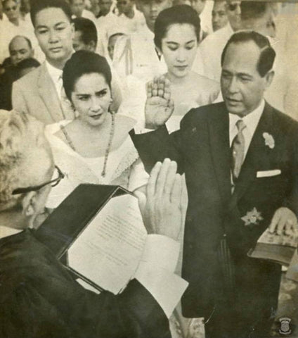 Garcia is sworn in as president during his inauguration ceremony on December 30, 1957 after winning the election that year