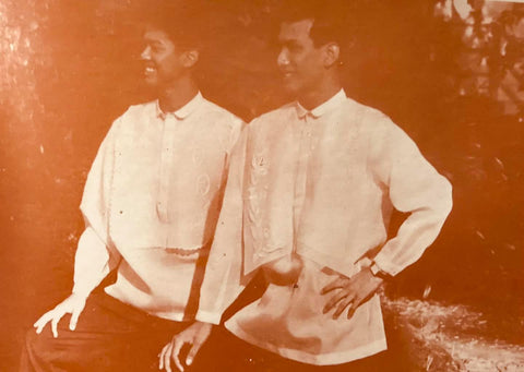 Butch and Raoul Henson model Joseph Feliciano barongs that are long and loose-fitting with attached bibs