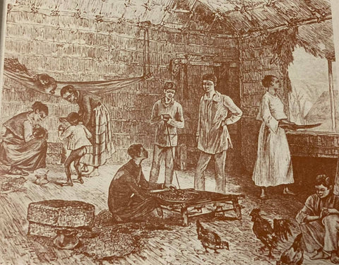 Illustration of a humble Philippine home, probably 18th/19th century. The males wear modest striped barongs. From de la Torre's The Barong Tagalog