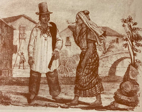 Artist's rendering of a scene in the Philippines with an Ilustrado class man. His outfit with barong was a typical variation of Ilustrado dress