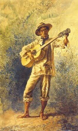 """""""Indio Guitarrista"""" painted by Felix Martinez y Lorenzo, 1887. A native Filipino guitar player tunes his guitar in his barong"""