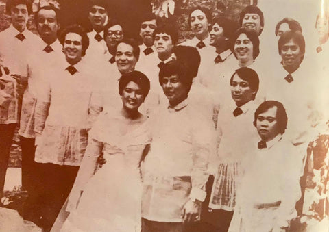 Irene Marcos and Greggy Araneta's wedding in 1983 featured Greggy and his groomsmen in Sanna's retro late 18th century Barong Tagalog