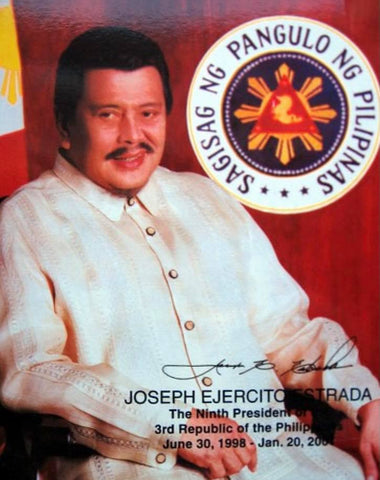Estrada wears a Barong Tagalog with raya embroidery strips in this presidential portrait