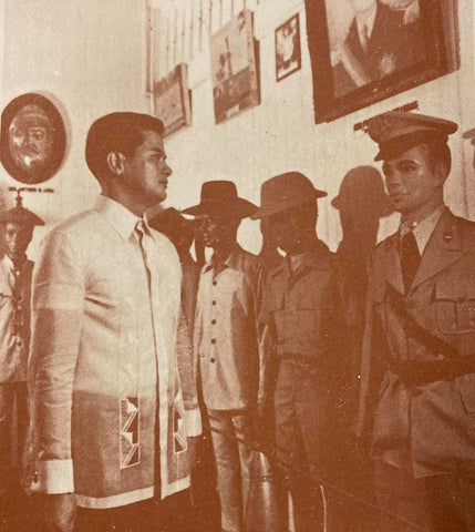 Major Rey Silvestre looks around the Philippine Army Museum in his shorter, slimmer cut, full button down Barong Tagalog with covered buttons