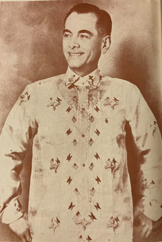 """Manuel Quezon wearing the """"Commonwealth Barong Tagalog"""""""