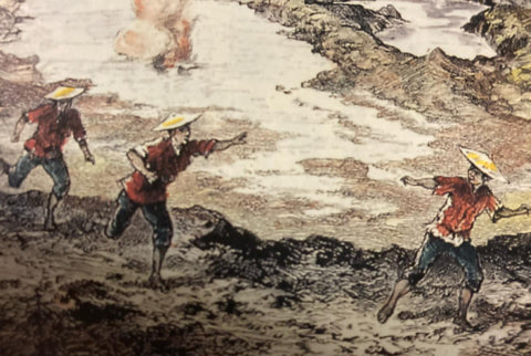 Le Volcan Taal, 1886, by Antoine-Alfred Marché - Closeup of three Filipinos in the foreground wear red barongs