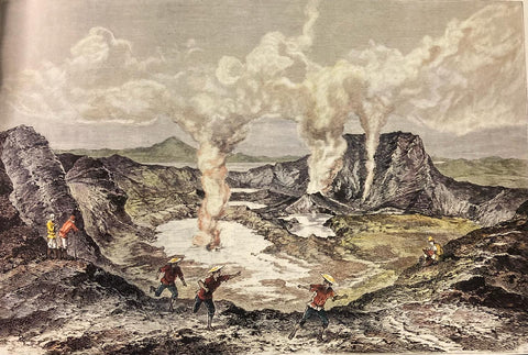 Le Volcan Taal, 1886, by Antoine-Alfred Marché - three Filipinos in the foreground wear red barongs
