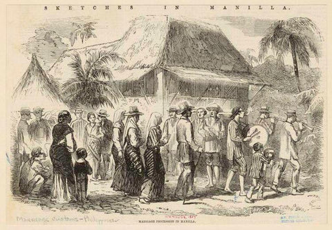 "A black and white image of the original sketch ""Marriage Procession in Manilla"". The men wear solid and striped Barong Tagalog"