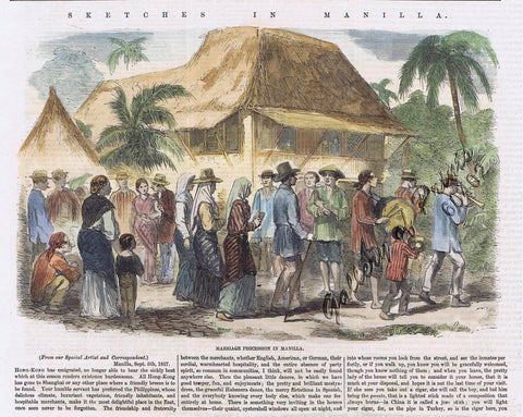 "A colorized print of ""Marriage Procession in Manilla"" with an excerpt of the article from Gallery of Prints"