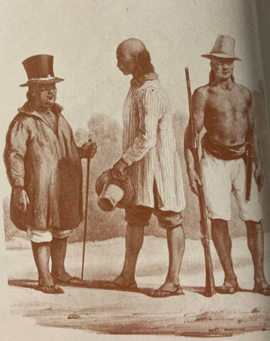 Filipino men with rolled up breeches, high hats and sandals, probably in 18th/19th century. From de la Torre's The Barong Tagalog.