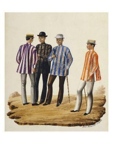 """Mestizos en trage de fiesta"" from Album de Manille et Ses Environs by Jose Honorato Lozano. Likely painted around mid-19th century. The four men wear striped colored barongs."
