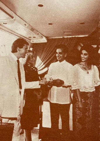 Moreno designed the cabin crew uniforms for Philippine Airlines. The men wore a natural beige Barong Tagalog