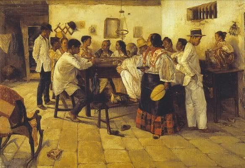 """Panguingue"" by Jose Taviel de Andrade circa late 1800's. The mean wear white barongs or camisa de chino"