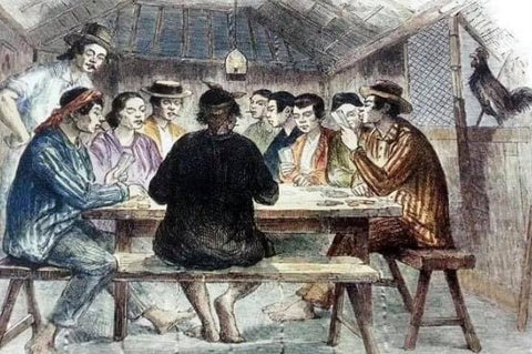 """Panguingui"" in Manila in 1857 by Charles Wirgman for the Illustrated London News. The small room of men wear striped and solid barongs"
