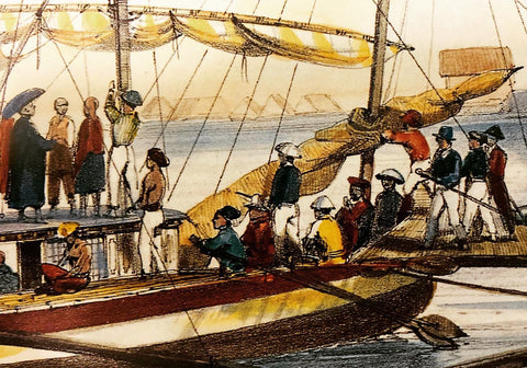 """Right side of """"Bilalo, bateau de passage de Manille à Cavite"""", 1841, by François-Edmond Pâris. There's a variety of local Filipinos in barongs and other clothing"""