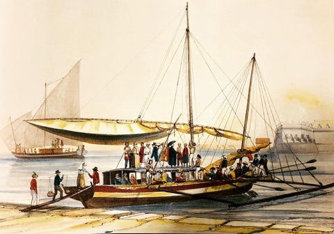 """""""Bilalo, bateau de passage de Manille à Cavite"""", 1841, by François-Edmond Pâris. There's a variety of local Filipinos in barongs and other clothing"""