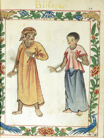 """A Pintado (""""painted"""" in Spanish) couple of timawa or tumao marital-feudal class from the Boxer Codex (1590)"""