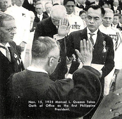 Quezon's oath taking ceremony at his presidential inauguration on November 15, 1935