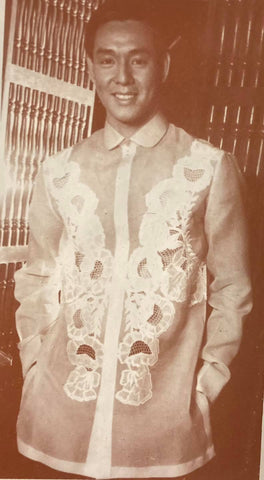 An Aureo Alonzo jusi Barong Tagalog that is color dyed in graduated shades modeled by Robert David