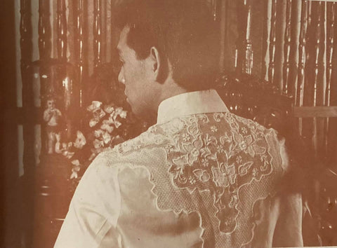 The calado hand embroidery on the back of the Alonzo barong modeled by Robert David