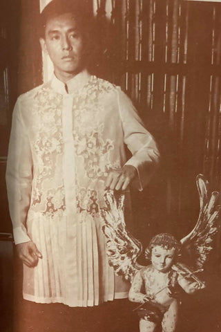Robert David models a historically inspired, long Barong Tagalog by Aureo Alonzo