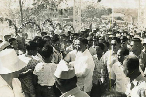 President Magsaysay meets and greets the people in his Barong Tagalog