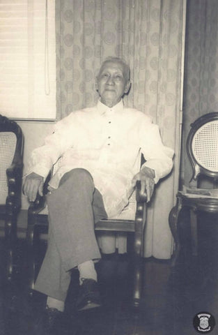 Sergio Osmeña seated in a Barong Tagalog in 1960.