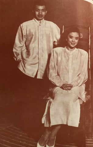 Two of de Leon's more contemporary barongs likely made of a special variety of silk.