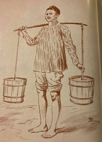 Native male vendor wears a striped camisa de chino, salawal (loose pants) rolled up for work, and putong (cloth head wrap) on his head. Illustration from de la Torre's The Barong Tagalog. Likely circa 18th/19th century