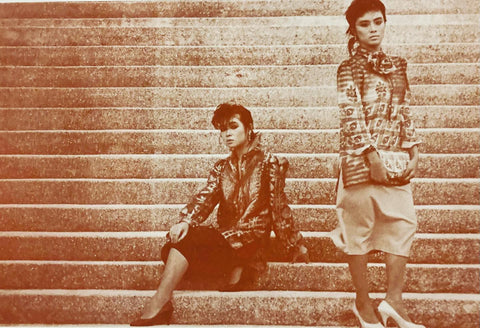 Joy Lee (left) and Judy Valles (right) model Tony Decena barongs with skirts
