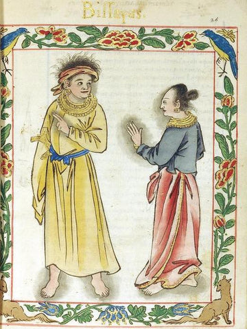 a Visayan kadatuan (royal) couple from the Boxer Codex (1590)
