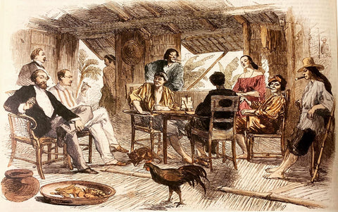 Wirgman - Bargaining for Horses in Calamba (1857) - Western travelers and Native Filipinos in Barong Tagalog in the Gobernadorcillo's Home