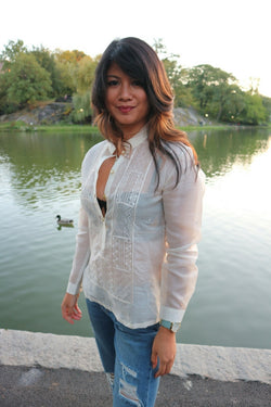 Amanda in her custom long sleeve hand embroidered jusi Barong Tagalog and jeans in Central Park in New York City