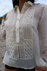 Closer look at hand embroidery of the custom jusi Andrelie Barong Tagalog
