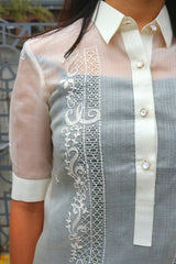 Closer look at right shoulder and upper chest part of hand embroidered cocoon Bianca Barong Tagalog with button placket, collar and right sleeve shown