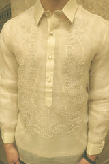 Product picture of the hand embroidered piña silk Chris M Barong Tagalog