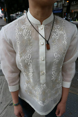 Product shot of the hand embroidered jusi Chrissi Barong Tagalog