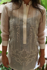 Full product picture of the hand embroidered cocoon Coley Barong Tagalog