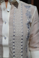 Closeup photo of the embroidery on the upper left portion of the jusi Rissa Barong Tagalog.